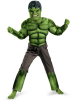 Wholesale New Avengers Hulk Costumes for kids Fancy dress Halloween Carnival Party Cosplay Boy Kids Clothing Decorations Supplies D