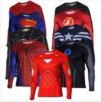army soldier costumes - Batman Spiderman Ironman Superman Captain America Avengers Costume Superhero Soldier Marvel Comics Mens Style Long T shirt