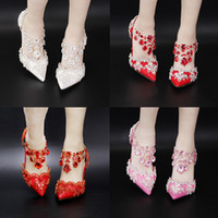 Wholesale Wedding Shoes Bridal Colorful Rhinestone White Pointed Head Shallow Mouth Sandal Thin High Heel Sandal Special Occasion Shoe