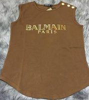 Wholesale Balmain PARIS With GOLD LABEL Women s Tee Balmain Shirt Top T Shirt Cotton T shirt For Women
