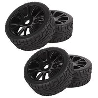 Wholesale 4Pcs set Front Rear mm Hub Wheel Rim Tires HSP Off Road RC Car Buggy Tyre Hexagonal Joint Black