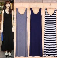 Wholesale 2016 Summer Dress Sexy Women Maxi Dress Solid O neck Sleeveless Modal Casual Dress Elegant Evening Party Long Dresses Vestidos
