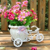 baskets for plants - Plastic White Tricycle Bike Design Flower Basket Container For Flower Plant Party Weddding Decoration DIY