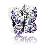 Wholesale 100 Sterling Silver Pave butterfly beads silver charm with purple and lavender cubic zirconia Fit Pandora style charms Bracelets