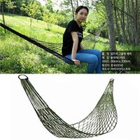 bandages nylon bags - New Outdoor Mesh Camping Hammock For Single Bold Dark Green And Blue Nylon Rope Hanging Bed With Bandage And Pouch Bag WX H02