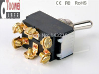 Wholesale 10PCS ON ON Toggle switch DPDT mounting Hole mm A V Rocker switches T6022W switch ps2 switch gang