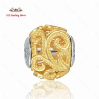 authentic creativity - Fits Pandora Bracelet Gold Plated Creativity Essence Charm Beads Authentic Sterling Silver Small Hole Silicone Diy Bead