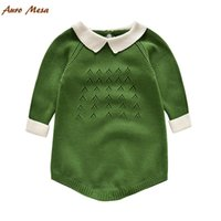 Wholesale Fashion Knitted Baby Rompers Fashion Cotton Long Sleeve Children Bodysuits Spring Summer Kids One Piece Jumper