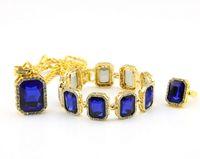 big rubies - Hot Brand Hip Hop Jewelry Set Famous Star K Alloy Blue Black Red Ruby Men Bling Bling Necklace Bracelet Ring Big Size