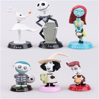 action figures animation - 6pcs The Nightmare Before Christmas action figure Henry Selick Clay Animation Sally Shock Jack Skellington Lock Zero Figures Toys toy gifts