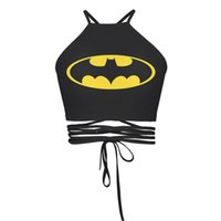bandages for cats - Hot The Newest Summer Style For Women D Printed Black Back Batman Cat Seleton Sexy Bandage Halter Tops Cropped Feminino