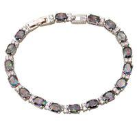 Wholesale New Noblest Fashion gift Women s Bracelets amp bangles Rainbow Mystic Topaz Silver Bracelet cm inch B052