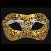Wholesale 2016 Fashion New Handmade half face Paper pulp Gold Music Motif Masquerade Paper Mache Mardi Gras Mask