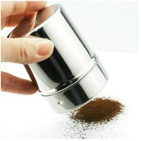 Wholesale Stainless Steel Powder Sprinkle Extinguishers Tank Gauze Bucket Cocoa Powder Cinnamon Powder Dusting Cans For Latte Art Barista