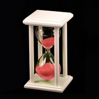 art glass candy - Handmade Sandglass With White Wood Frame Candy Color Sand Minutes Art Timer Clock Hourglass Birthday Gift Home Decor