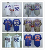 achat en gros de maillot authentique 52-2016 New York Mets # 52 Yoenis Cespedes Jereys New Baseball Shirt authentique 100% piqué de base-ball Maillots de broderie Logos