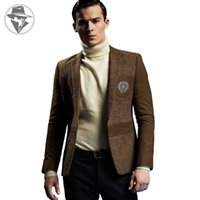 Wholesale GUEQI Fashion Men s Wool Blazer Jacket High Quality England Style Gentlemen Leisure Blazers for Men Wool Coat Outwear ST5238