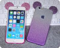 Precio de Iphone bling la rosa-Azul / púrpura / plata / amarillo / caso rosado del iPhone 4.7 / 5.5inch que brilla Mickey Mouse brillante 6 / 6s / 6 plus / 6splus Cubierta dura Bling TPU capa suave de la piel