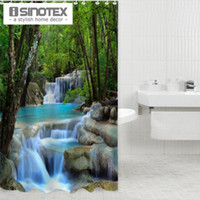 Wholesale 180X180CM Waterfall Scenery Waterproof Shower Curtain Bathroom Products Creative Polyester Bath Curtain