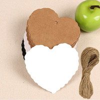 Wholesale 1000pcs set Blank Heart Shape Craft Paper Hang Tag Wedding Party Label Price Gift Cards Decoration Bookmark String