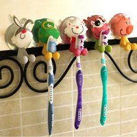Wholesale Cute Cartoon Animal Toothbrush Holder Suckers Silicone Toothbrush Rack Hooks