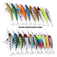 Wholesale 20 Baits Lures Hard Plastic Bait Minnow Pencil Fishing Tackle with Hooks Bait Durable ABS Body Fishing Lures
