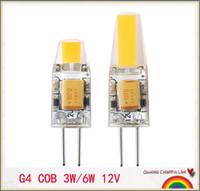 achat en gros de g4 a conduit la lumière cob-HOT 10PCS G4 COB 12V COB Ampoules LED 3W 6W 9W AC12V lampe LED COB G4 Remplacer pour l'ampoule LED Crystal Light Spotlight Chaud Froid Blanc