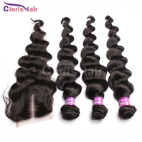 Wholesale 7A Malaysian Hair With Closure Loose Wave Silk Base Closure With Bundles Derun Curly Human Hair Weaves Extensions Loose Wavy