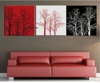 Cheap Free Shipping 3PCS Pure100% Hand-painted Art Oil Painting Colorful Red White Black Tree On Canvas For Living Room No frame