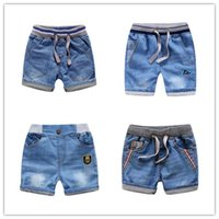 Wholesale New Summer Kid Clothing Boys Children Soft Denim Shorts Jeans Pant Blue Fashion Hot Trousers Cartoon Embroidery Stripe Car Badge Dinosaur