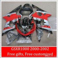 Los carenados de moto deportiva para Suzuki Rojo Plata Negro 00 01 02 GSXR1000 GSX-R 1000 GSXR 1000 2000 2001 2002 kits del carenado ABS K2 Racing