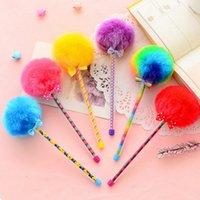 Wholesale lapices cute pen Hairball gel pens Plush Needle type boligrafos kalem pentel stationery canetas colorida material escolar
