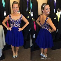 Wholesale Royal Blue Prom Dresses Cheap Knee Length Party Dress Backless Chiffon Cocktail Dresses with Appliques Hot