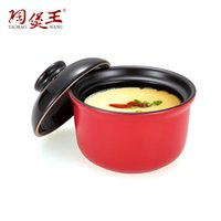 Wholesale Wonderful ml Glazed Cute Earthen Casserole Mini Dessert Cake Cocottes With Lid For Oven Microwave