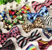 Wholesale New Fashion Men s Polyester Silk Bow Tie Striped Leopard Plaid Bow Ties Casual Butterfly Cravat hot sell