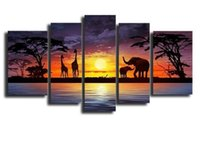 Wholesale 5 Pieces Canvas Art Hand Made Oil Painting Wood Frame Inside Wall Art Painting Decor Gift