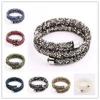 Wholesale 2017 New Fashion Double Crystaldust Bracelets Bangles Pave Full Crystal Dust Stardust Bracelets For Women Multicolors Mix