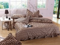 Wholesale Fashion Leopard Grain High end Full Cotton Reactive Printing Stripe Contemporary Bedding Set PC FULL Queen Size