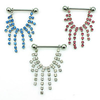 Wholesale Body Piercing Fashion Nipple Rings L Stainless Steel Barbells Hang Rhinestone Long Branch Breast Jewelry
