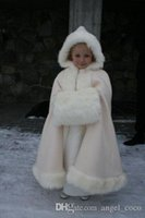 Wholesale Winter Fur and Satin Girls Capes and Jackets Bolero Satin Kids Formal Wear Accessories White or Ivory