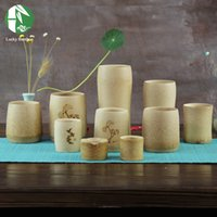 Wholesale Novelty Bamboo tea cup for kung fu tea wine milk water drinkware handmade mug with classic carvings health creative crafts