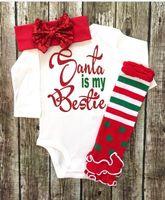american girl socks - 2016 Christmas baby suit bow headband long sleeved Romper Socks three sets children fashion girl autumn winter clothes set