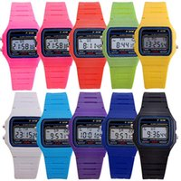 alarm clock rubbers - Men Women LED Silicone Whatches alarm clock F W watches Sport watches luxury F91 thin multicolour LED Fashion Watch epacket