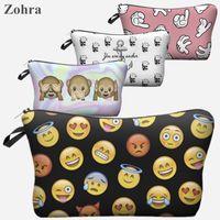 Wholesale Women Emoji Portable Type Bags Make up organizer bag Cosmetics Bags amp Cases Storage travel pochette maquillage Storage Bags