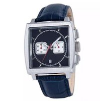 belt buckle suppliers - 2016 sponsored supplier brand watches men monaco quartz chronograph watch black dial original bracelet leather belts Watch Men dress Watches
