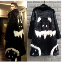 Wholesale Quan Zhilong same paragraph imitation fox fur coat wool coat Men star painted face gown autumn and winter coat lengthened
