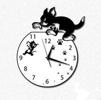 Wholesale New Cartoon Cat Wall Clock Bedroom Clock for Home Decoration Quiet Design