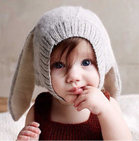 baby hat with ears - Baby Boys Girl s Rabbit Cap spring autumn oeufncy Lovely Hats with soft nap gray Knitted Crochet Headgear Soft Warm with Long Ear