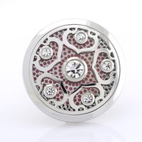 Wholesale 5PCS mm Magnetic Stainless Steel Car Aroma Perfume Locket With Crystal Essential Oil Car Diffuser Lockets