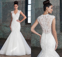alexander dress - 2016 Justin Alexander See Through Lace Mermaid Wedding Dresses V neck Button Tulle Wedding Gowns Sexy Bridal Dresses